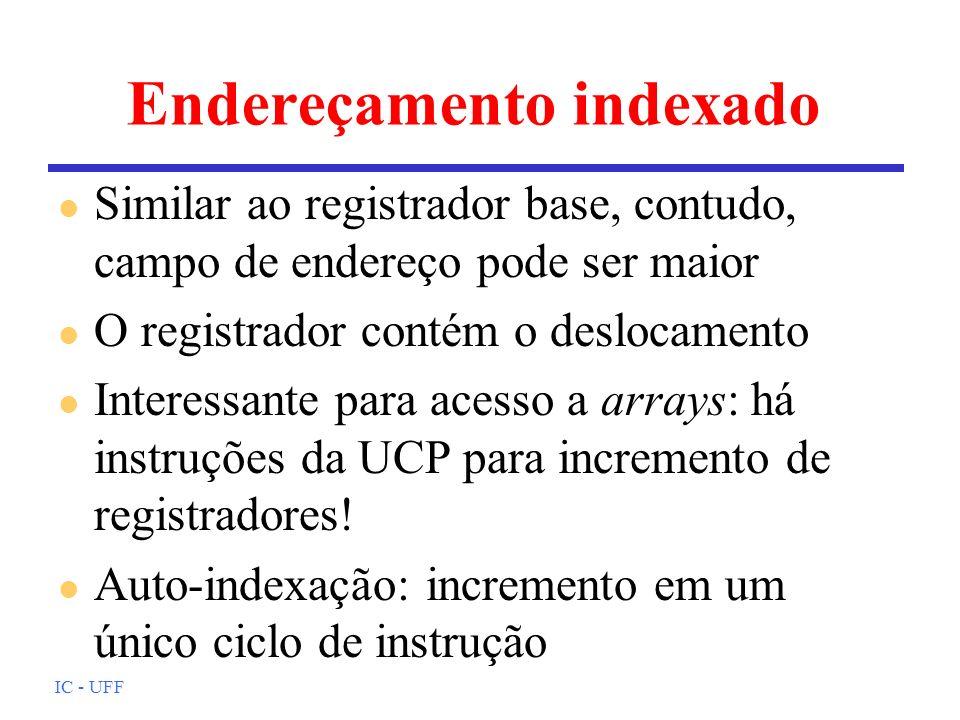 IC - UFF Endereçamento indexado l Similar ao registrador base, contudo, campo de endereço pode ser maior l O registrador contém o deslocamento l Inter