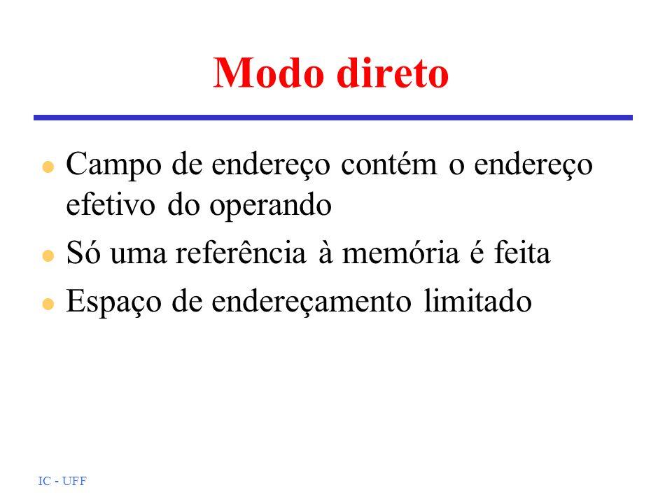 IC - UFF Modo direto l Campo de endereço contém o endereço efetivo do operando l Só uma referência à memória é feita l Espaço de endereçamento limitad