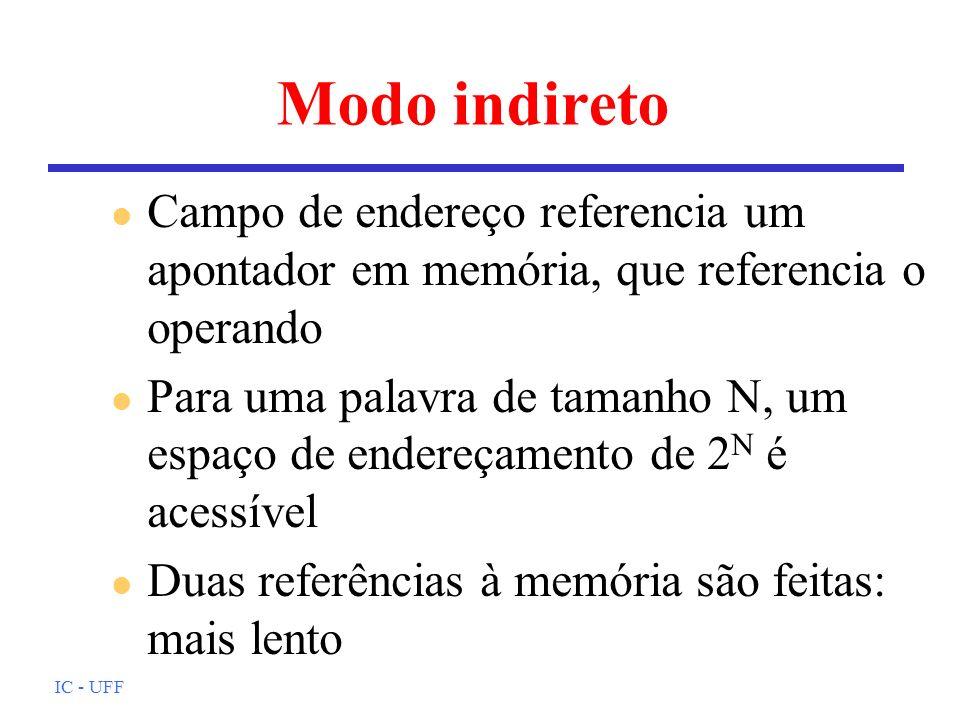 IC - UFF Modo indireto l Campo de endereço referencia um apontador em memória, que referencia o operando l Para uma palavra de tamanho N, um espaço de
