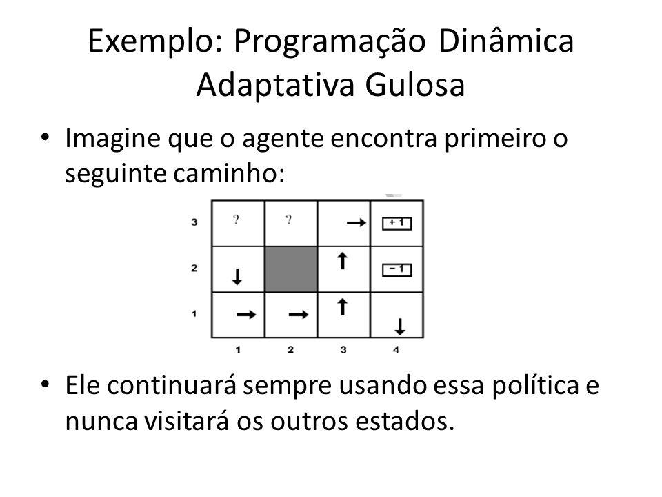 Exemplo: Programação Dinâmica Adaptativa Gulosa Imagine que o agente encontra primeiro o seguinte caminho: Ele continuará sempre usando essa política