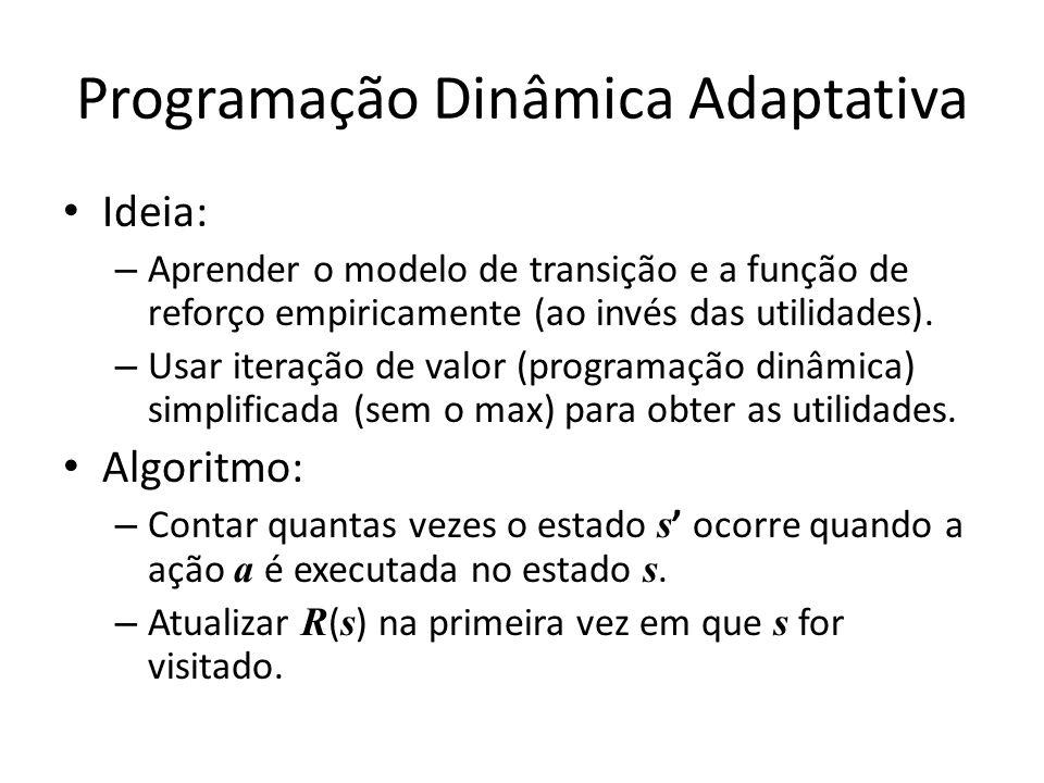 Programação Dinâmica Adaptativa A partir do conjunto de episódios: pode-se calcular que T((1,3),Direita,(2,3)) = 2/3 T((2,3),Direita,(3,3)) = 2/2 = 1 R((1,1)) = -0.04 R((4,3)) = +1...