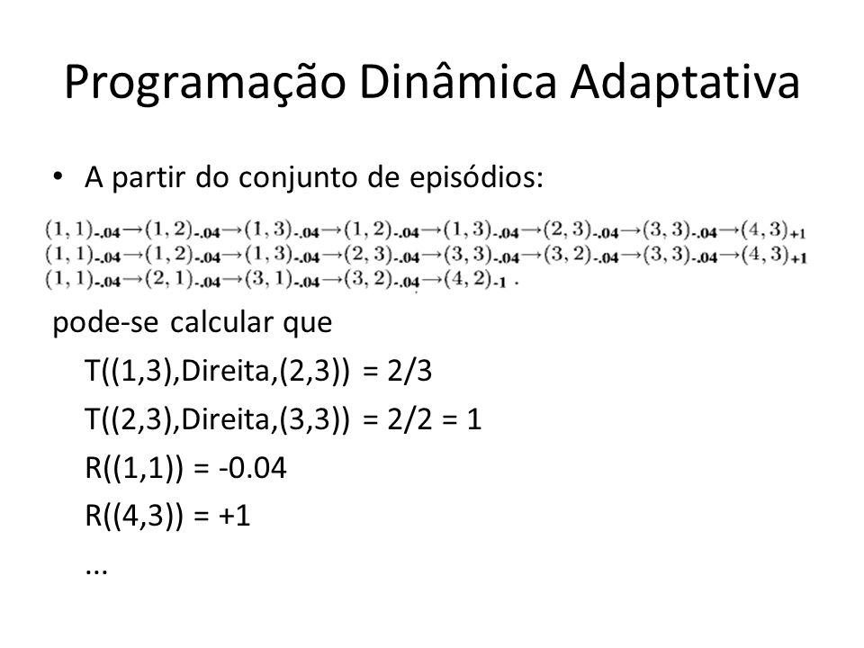 Programação Dinâmica Adaptativa A partir do conjunto de episódios: pode-se calcular que T((1,3),Direita,(2,3)) = 2/3 T((2,3),Direita,(3,3)) = 2/2 = 1