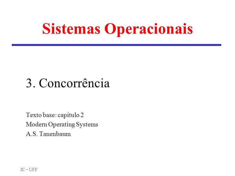 IC - UFF Sistemas Operacionais 3. Concorrência Texto base: capítulo 2 Modern Operating Systems A.S. Tanenbaum