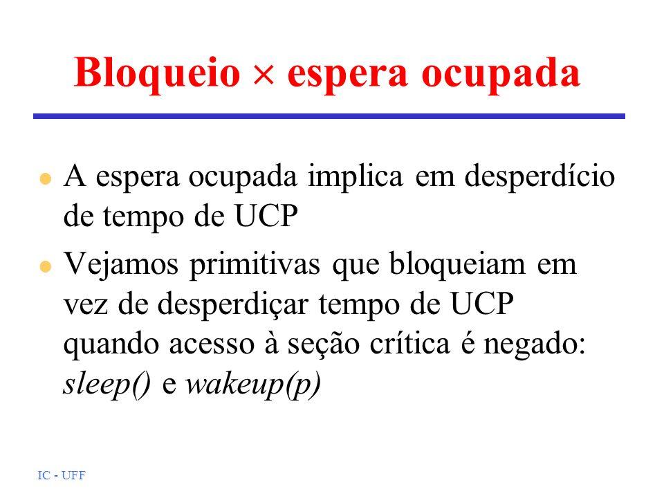 IC - UFF Bloqueio espera ocupada l A espera ocupada implica em desperdício de tempo de UCP l Vejamos primitivas que bloqueiam em vez de desperdiçar te