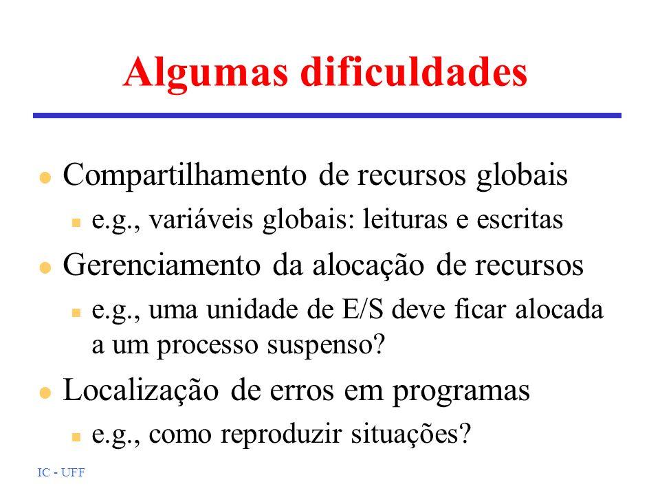 IC - UFF Algumas dificuldades l Compartilhamento de recursos globais n e.g., variáveis globais: leituras e escritas l Gerenciamento da alocação de rec