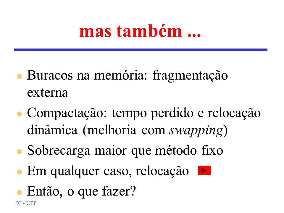 IC - UFF mas também... l Buracos na memória: fragmentação externa l Compactação: tempo perdido e relocação dinâmica (melhoria com swapping) l Sobrecar