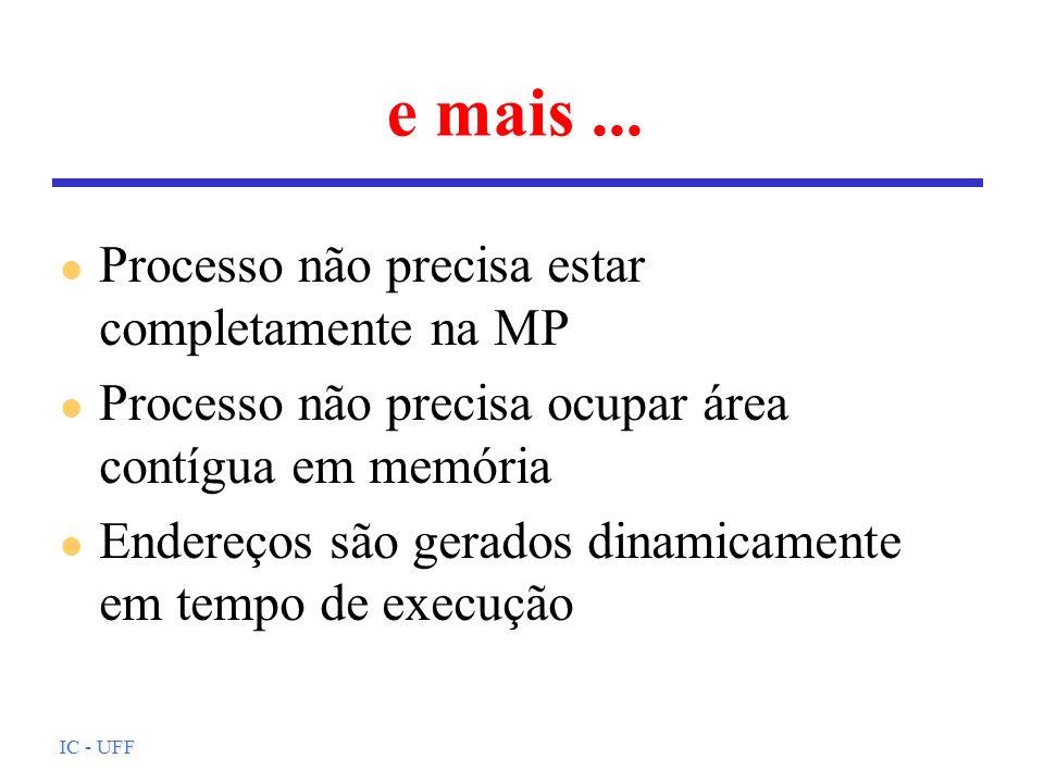 IC - UFF e mais... l Processo não precisa estar completamente na MP l Processo não precisa ocupar área contígua em memória l Endereços são gerados din