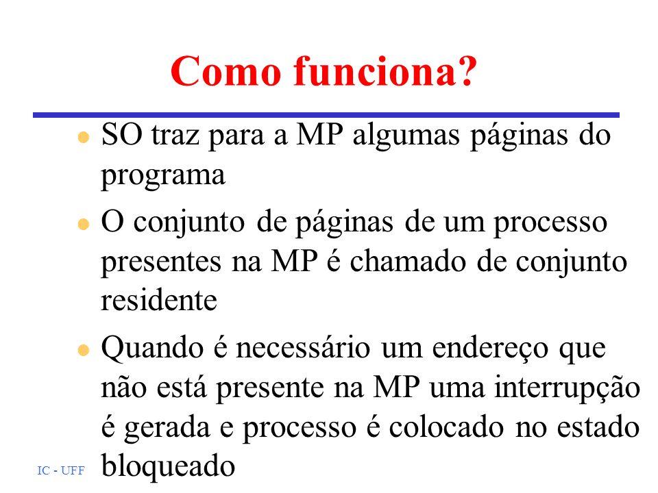 IC - UFF Como funciona? l SO traz para a MP algumas páginas do programa l O conjunto de páginas de um processo presentes na MP é chamado de conjunto r