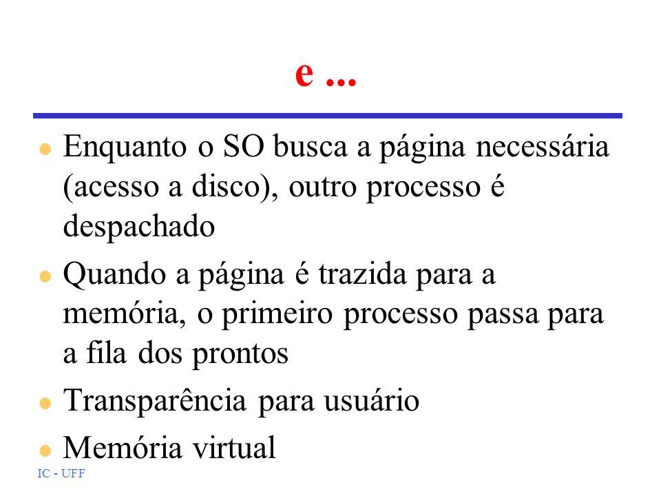 IC - UFF e... l Enquanto o SO busca a página necessária (acesso a disco), outro processo é despachado l Quando a página é trazida para a memória, o pr