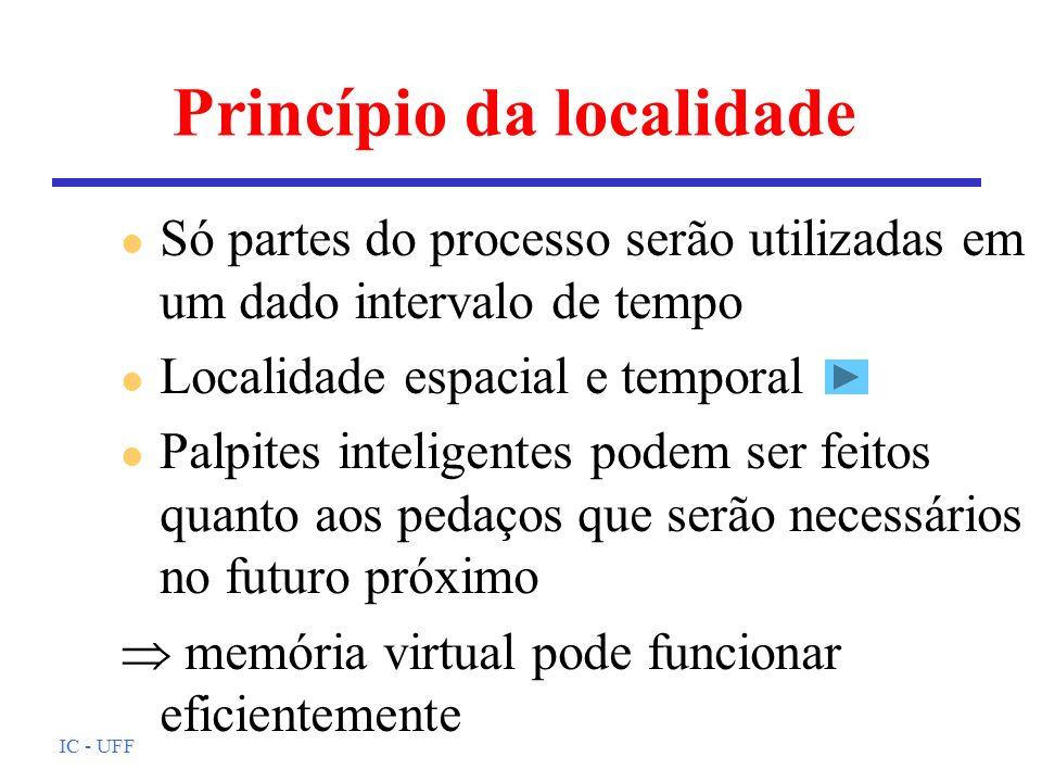 IC - UFF Princípio da localidade l Só partes do processo serão utilizadas em um dado intervalo de tempo l Localidade espacial e temporal l Palpites in