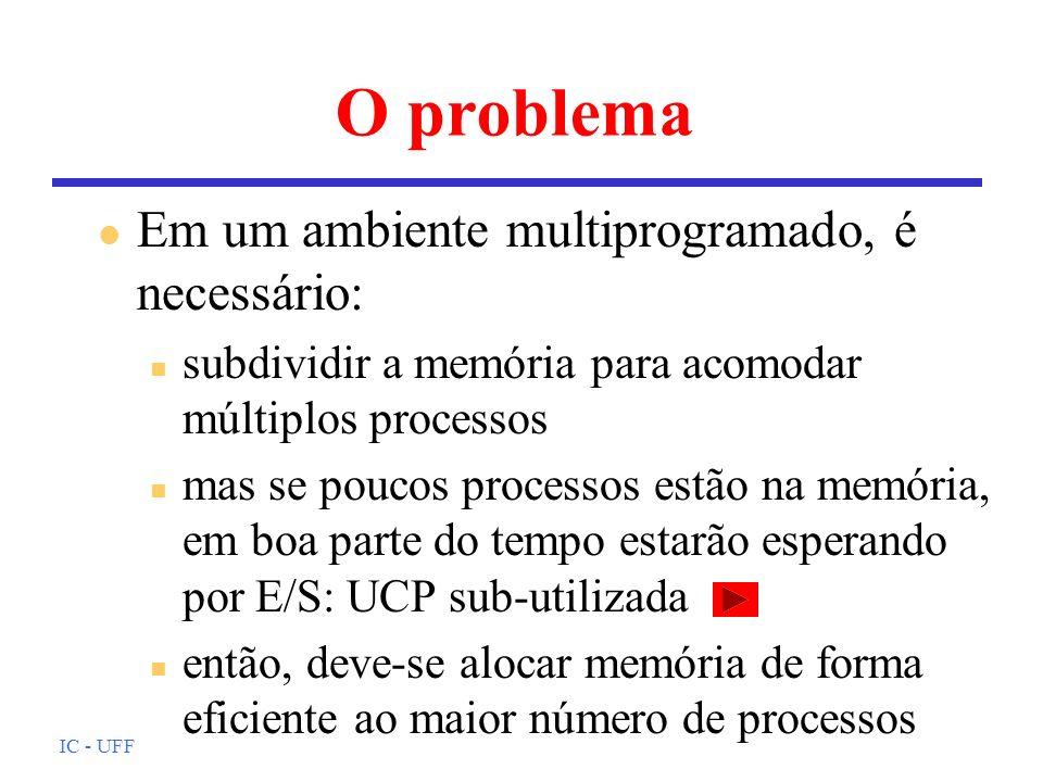 IC - UFF Alguns requisitos (1) l Relocação n o programador não deve se preocupar com o local onde o programa (processo) será carregado para execução n durante a execução, o processo poderá sair da memória e retornar para um local diferente n referências devem ser resolvidas para endereços de memória física