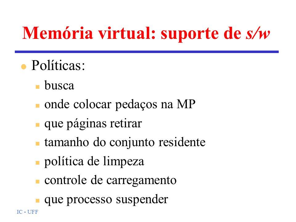 IC - UFF Memória virtual: suporte de s/w l Políticas: n busca n onde colocar pedaços na MP n que páginas retirar n tamanho do conjunto residente n pol