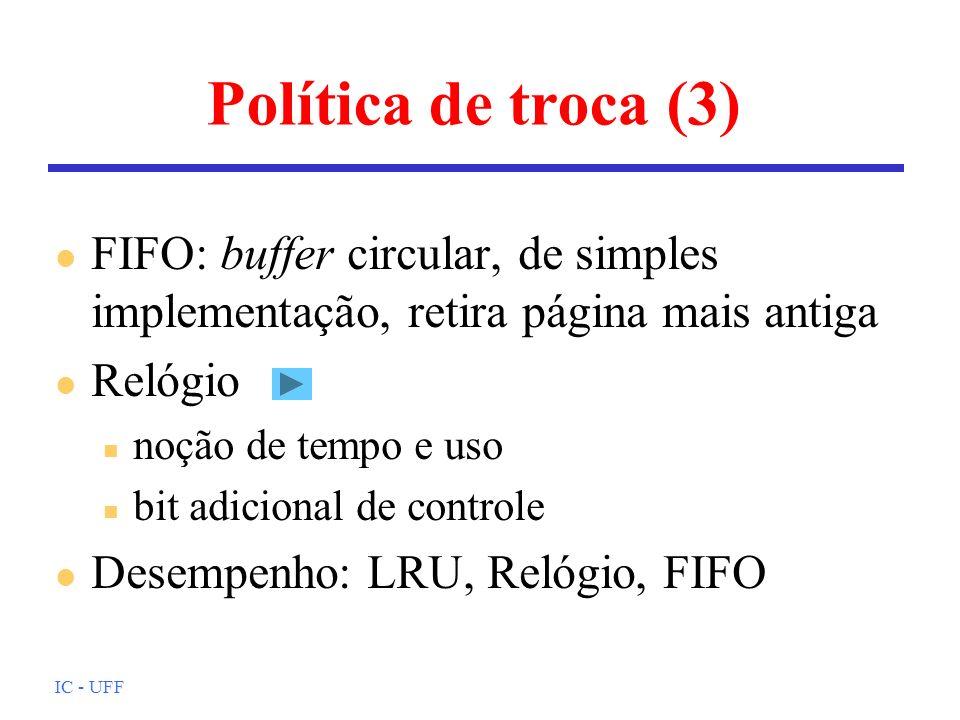 IC - UFF Política de troca (3) l FIFO: buffer circular, de simples implementação, retira página mais antiga l Relógio n noção de tempo e uso n bit adi