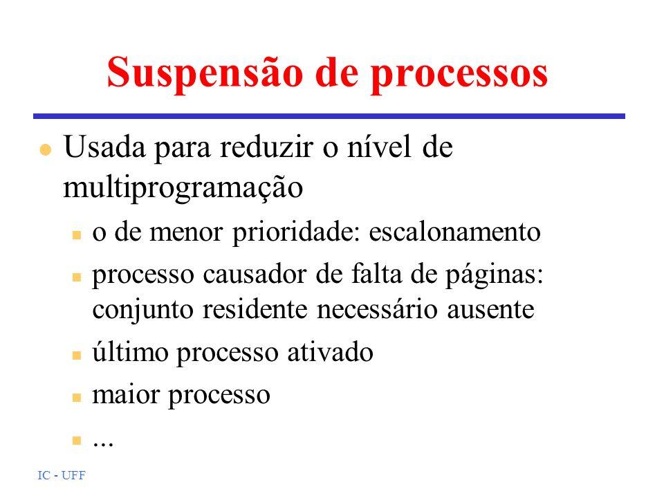 IC - UFF Suspensão de processos l Usada para reduzir o nível de multiprogramação n o de menor prioridade: escalonamento n processo causador de falta d