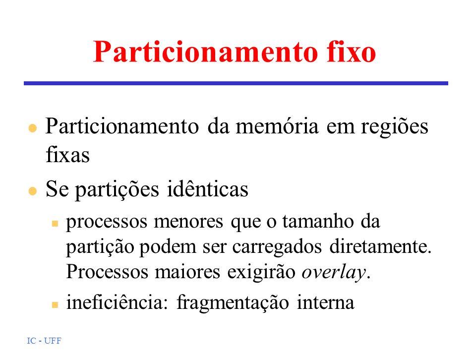 IC - UFF Política de troca (1) l Trata da seleção da página a ser retirada da MP l Algumas páginas podem ficar permanentemente em memória: n estruturas do núcleo n buffers de E/S n SO de tempo real