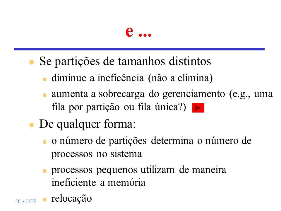 IC - UFF Particionamento dinâmico l Número e tamanho das partições é variável l Cada processo recebe a quantidade de memória que necessita l Gerenciando buracos e processos l Alocação: algumas possibilidades n primeiro encaixe (o melhor!) n próximo encaixe (um pouco pior) n melhor encaixe (o pior!)