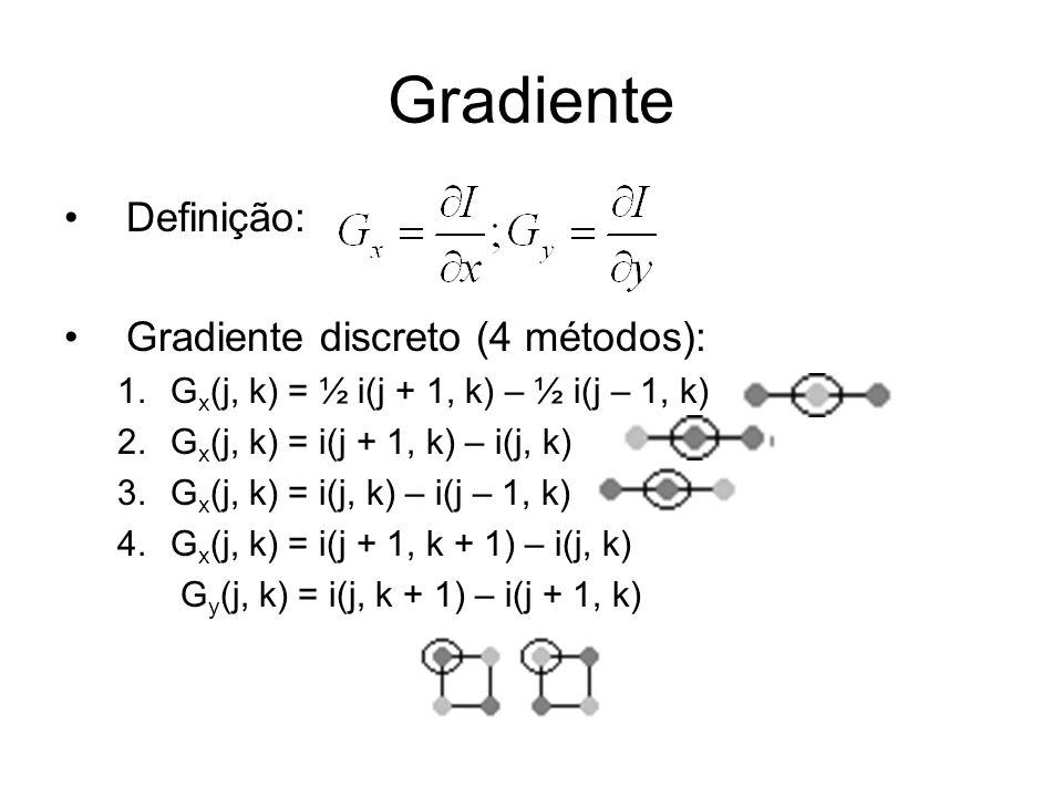 Gradiente Definição: Gradiente discreto (4 métodos): 1.G x (j, k) = ½ i(j + 1, k) – ½ i(j – 1, k) 2.G x (j, k) = i(j + 1, k) – i(j, k) 3.G x (j, k) =