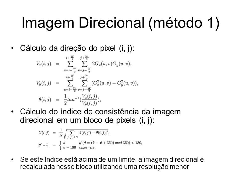 Imagem Direcional (método 1) Cálculo da direção do pixel (i, j): Cálculo do índice de consistência da imagem direcional em um bloco de pixels (i, j):