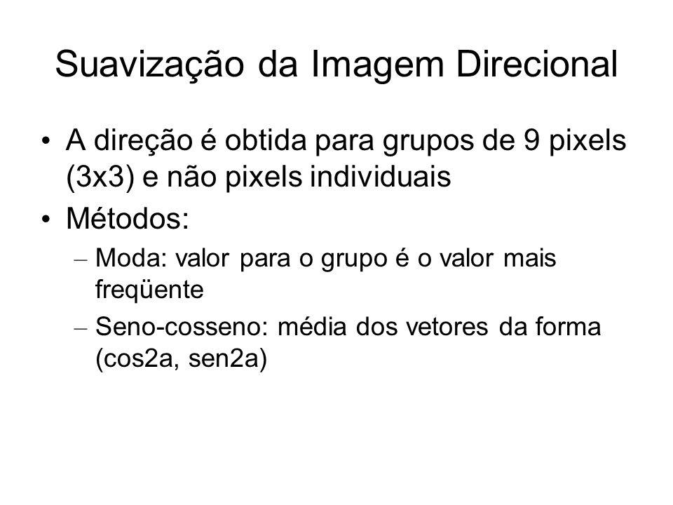 Suavização da Imagem Direcional A direção é obtida para grupos de 9 pixels (3x3) e não pixels individuais Métodos: – Moda: valor para o grupo é o valo