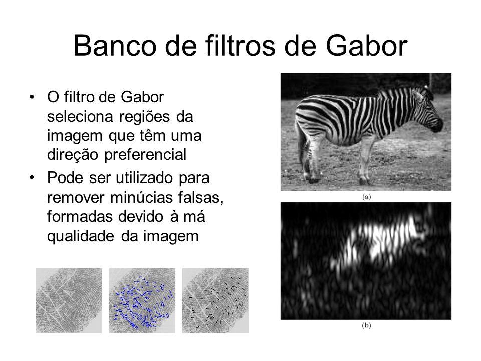Banco de filtros de Gabor O filtro de Gabor seleciona regiões da imagem que têm uma direção preferencial Pode ser utilizado para remover minúcias fals