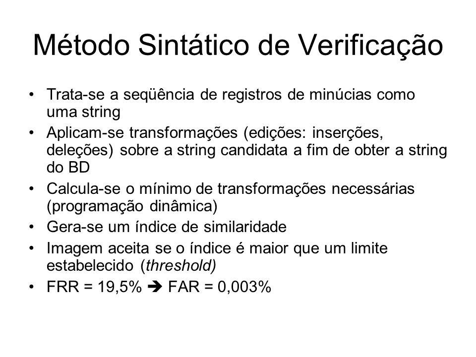 Método Sintático de Verificação Trata-se a seqüência de registros de minúcias como uma string Aplicam-se transformações (edições: inserções, deleções)