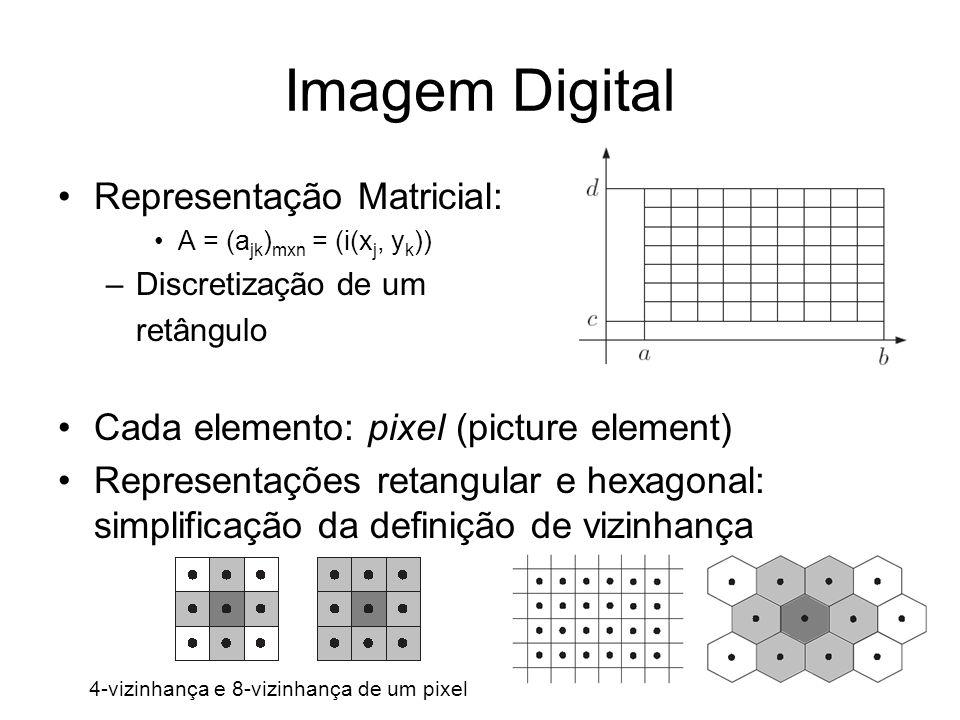 Imagem Digital Representação Matricial: A = (a jk ) mxn = (i(x j, y k )) –Discretização de um retângulo Cada elemento: pixel (picture element) Represe