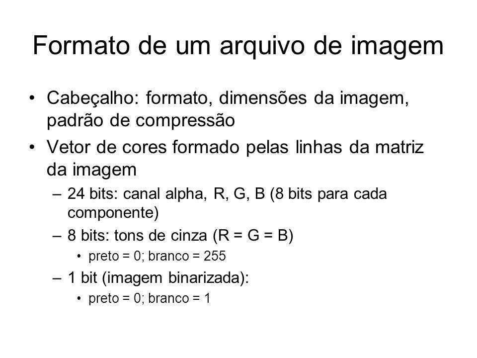 Formato de um arquivo de imagem Cabeçalho: formato, dimensões da imagem, padrão de compressão Vetor de cores formado pelas linhas da matriz da imagem