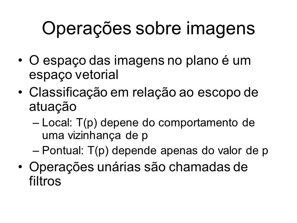 Operações sobre imagens O espaço das imagens no plano é um espaço vetorial Classificação em relação ao escopo de atuação –Local: T(p) depene do compor