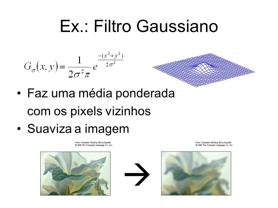 Ex.: Filtro Gaussiano Faz uma média ponderada com os pixels vizinhos Suaviza a imagem
