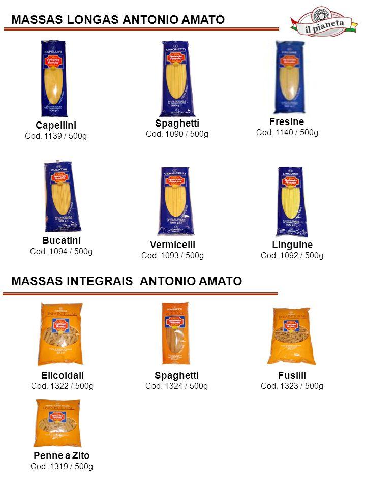 MASSAS LONGAS ANTONIO AMATO Capellini Cod. 1139 / 500g Spaghetti Cod. 1090 / 500g Bucatini Cod. 1094 / 500g Linguine Cod. 1092 / 500g Vermicelli Cod.