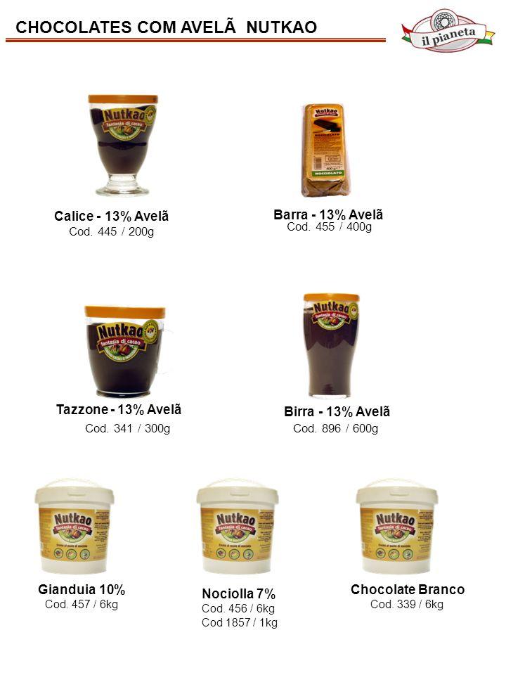 CHOCOLATES COM AVELÃ NUTKAO Cod. 455 / 400g Cod. 445 / 200g Cod. 341 / 300g Cod. 896 / 600g Calice - 13% Avelã Tazzone - 13% Avelã Birra - 13% Avelã B
