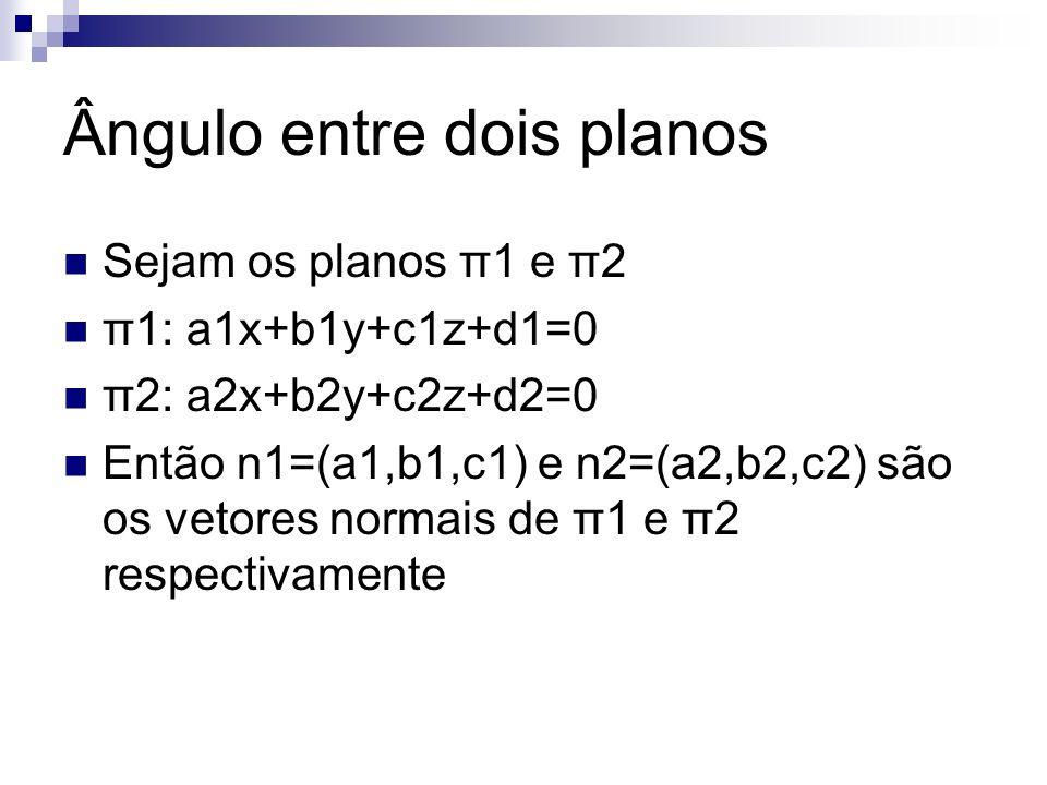 Ângulo entre dois planos Sejam os planos π1 e π2 π1: a1x+b1y+c1z+d1=0 π2: a2x+b2y+c2z+d2=0 Então n1=(a1,b1,c1) e n2=(a2,b2,c2) são os vetores normais de π1 e π2 respectivamente