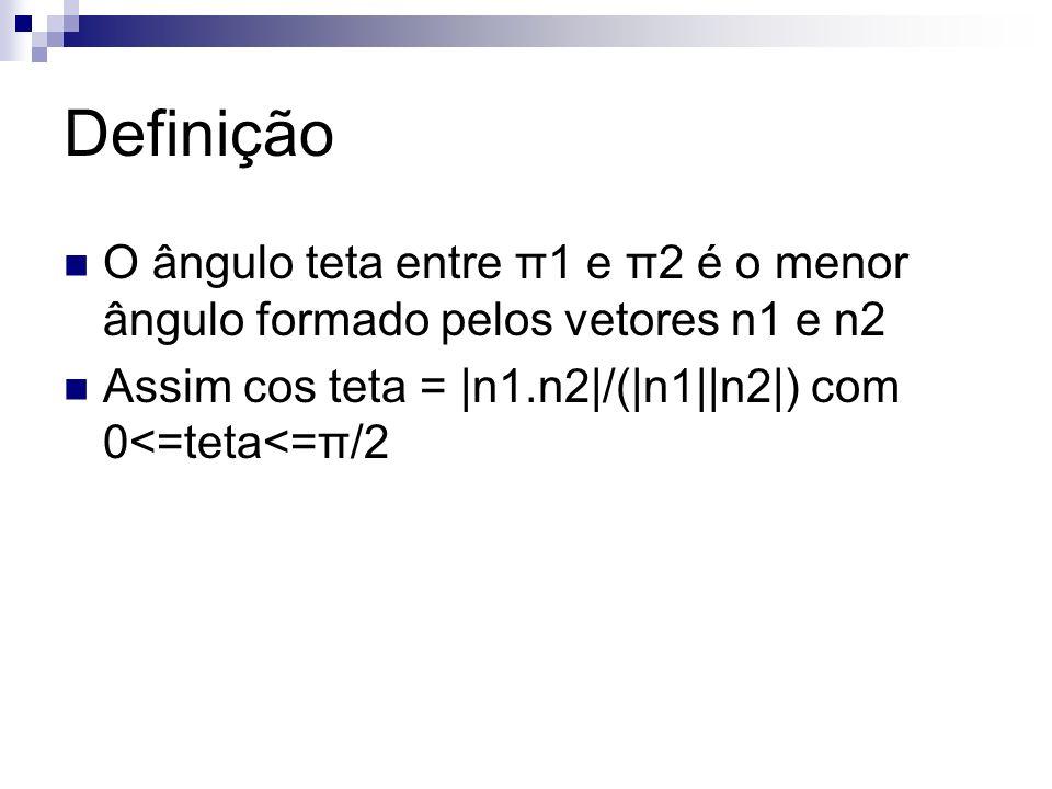 Definição O ângulo teta entre π1 e π2 é o menor ângulo formado pelos vetores n1 e n2 Assim cos teta = |n1.n2|/(|n1||n2|) com 0<=teta<=π/2