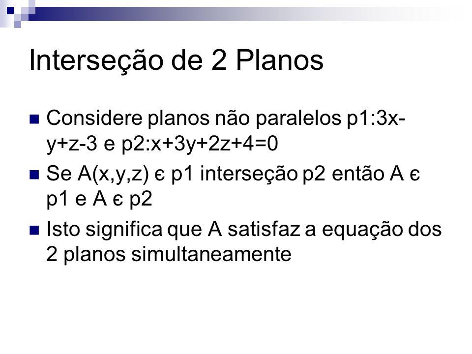 Interseção de 2 Planos Considere planos não paralelos p1:3x- y+z-3 e p2:x+3y+2z+4=0 Se A(x,y,z) є p1 interseção p2 então A є p1 e A є p2 Isto significa que A satisfaz a equação dos 2 planos simultaneamente