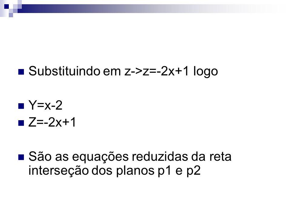 Substituindo em z->z=-2x+1 logo Y=x-2 Z=-2x+1 São as equações reduzidas da reta interseção dos planos p1 e p2