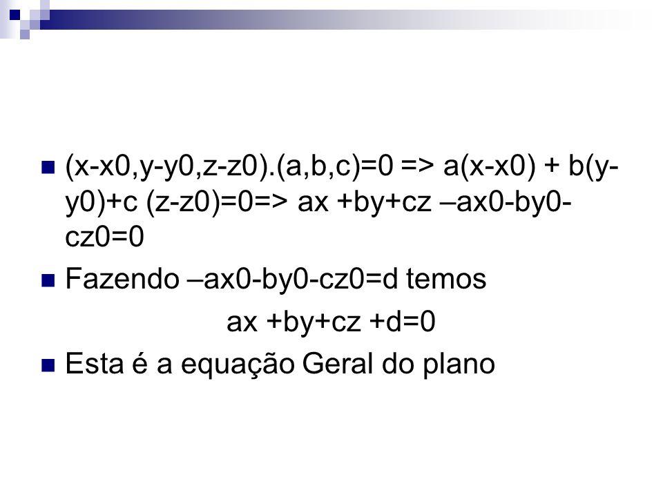 (x-x0,y-y0,z-z0).(a,b,c)=0 => a(x-x0) + b(y- y0)+c (z-z0)=0=> ax +by+cz –ax0-by0- cz0=0 Fazendo –ax0-by0-cz0=d temos ax +by+cz +d=0 Esta é a equação Geral do plano