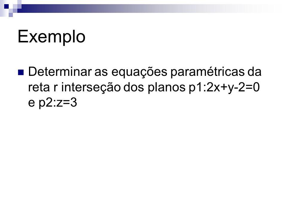 Exemplo Determinar as equações paramétricas da reta r interseção dos planos p1:2x+y-2=0 e p2:z=3