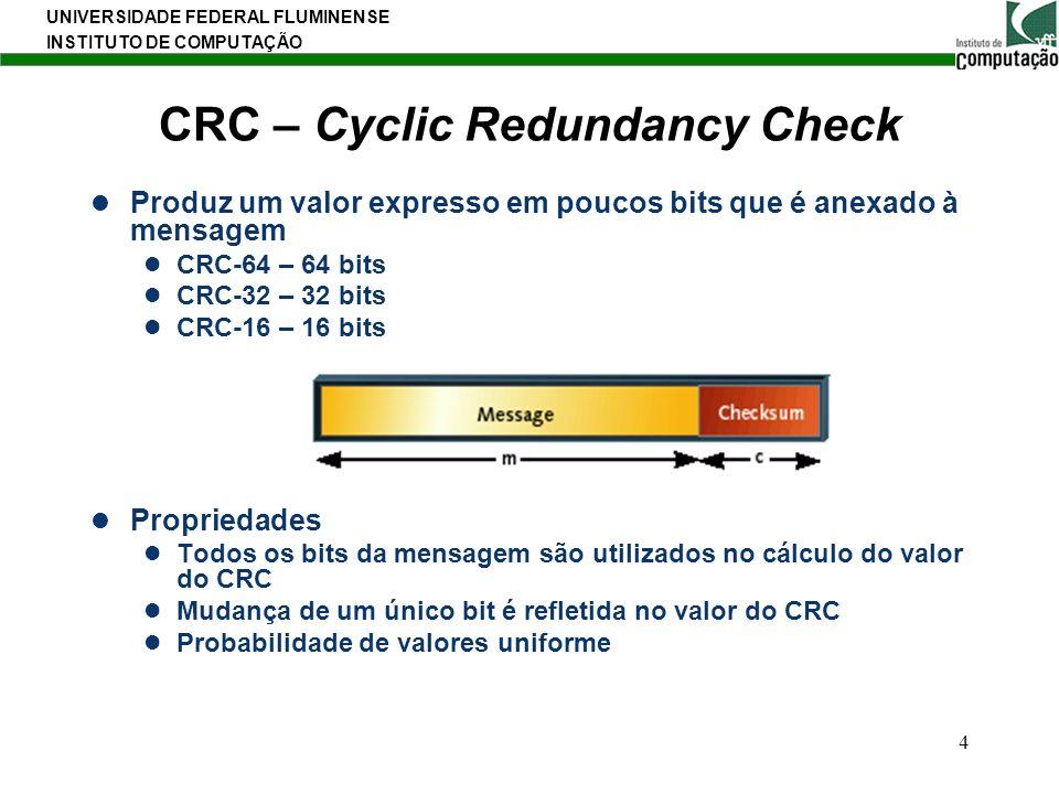 UNIVERSIDADE FEDERAL FLUMINENSE INSTITUTO DE COMPUTAÇÃO 4 CRC – Cyclic Redundancy Check Produz um valor expresso em poucos bits que é anexado à mensag