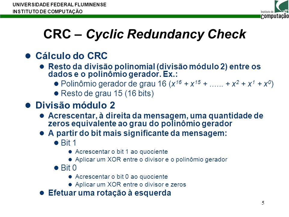 UNIVERSIDADE FEDERAL FLUMINENSE INSTITUTO DE COMPUTAÇÃO 5 CRC – Cyclic Redundancy Check Cálculo do CRC Resto da divisão polinomial (divisão módulo 2)