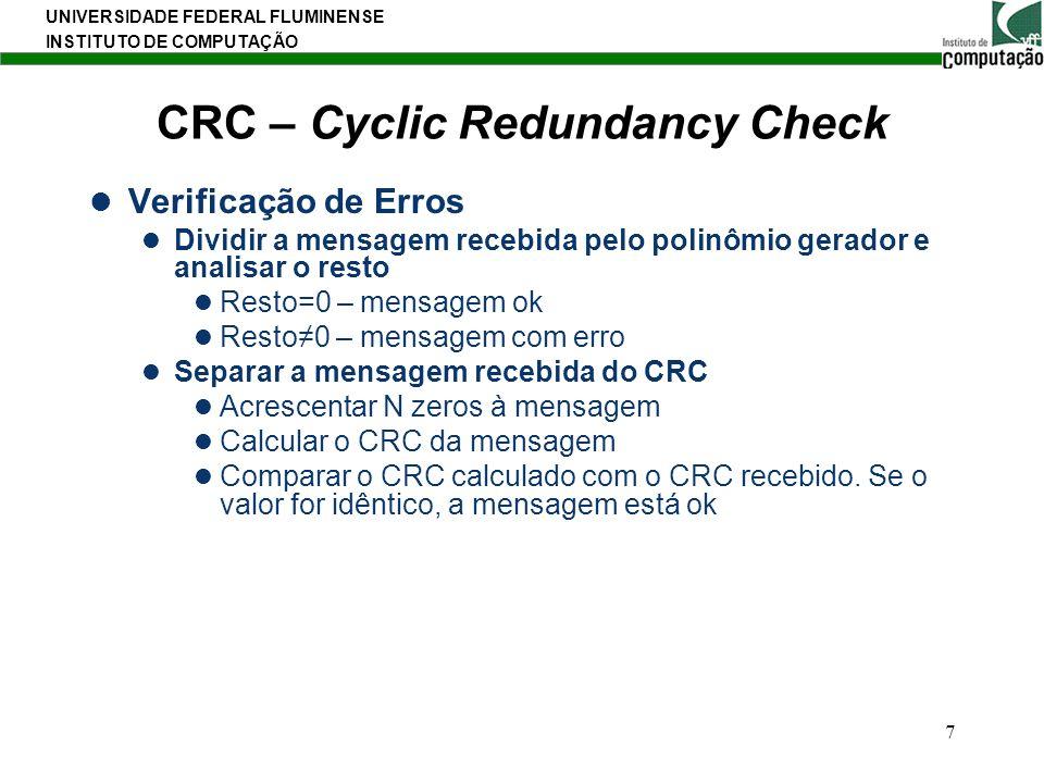 UNIVERSIDADE FEDERAL FLUMINENSE INSTITUTO DE COMPUTAÇÃO 7 CRC – Cyclic Redundancy Check Verificação de Erros Dividir a mensagem recebida pelo polinômi