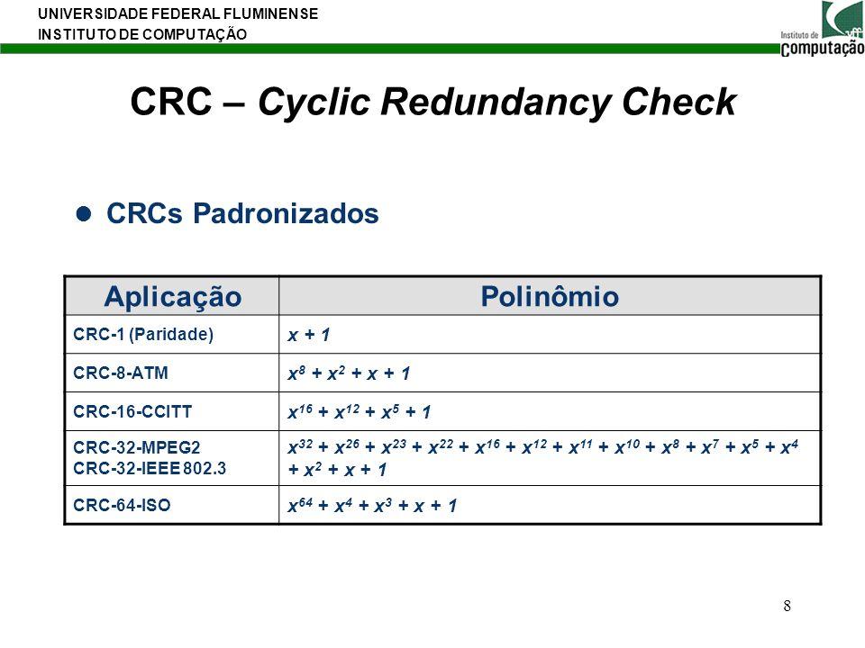 UNIVERSIDADE FEDERAL FLUMINENSE INSTITUTO DE COMPUTAÇÃO 8 CRC – Cyclic Redundancy Check CRCs Padronizados AplicaçãoPolinômio CRC-1 (Paridade) x + 1 CR