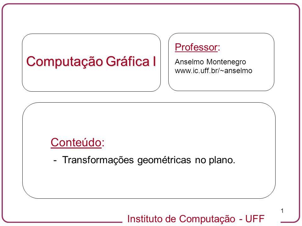 Instituto de Computação - UFF 1 Computação Gráfica I Professor: Anselmo Montenegro www.ic.uff.br/~anselmo Conteúdo: - Transformações geométricas no plano.