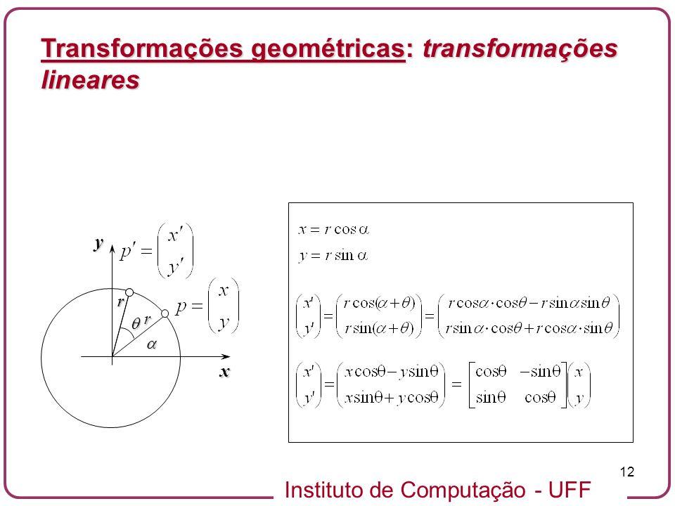 Instituto de Computação - UFF 12 Transformações geométricas: transformações lineares x y rrr