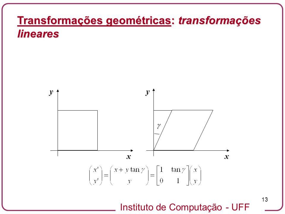 Instituto de Computação - UFF 13 Transformações geométricas: transformações lineares x y x y