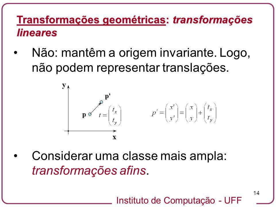Instituto de Computação - UFF 14 Não: mantêm a origem invariante.