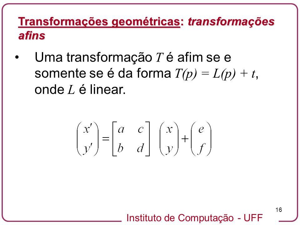 Instituto de Computação - UFF 16 Uma transformação T é afim se e somente se é da forma T(p) = L(p) + t, onde L é linear.