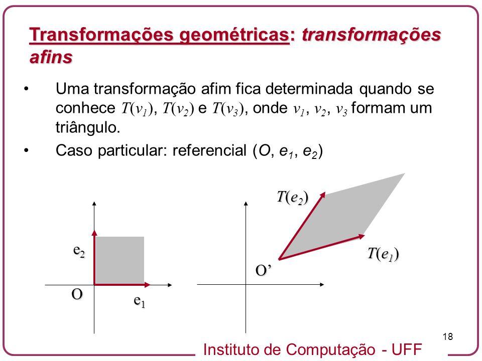 Instituto de Computação - UFF 18 Uma transformação afim fica determinada quando se conhece T(v 1 ), T(v 2 ) e T(v 3 ), onde v 1, v 2, v 3 formam um triângulo.