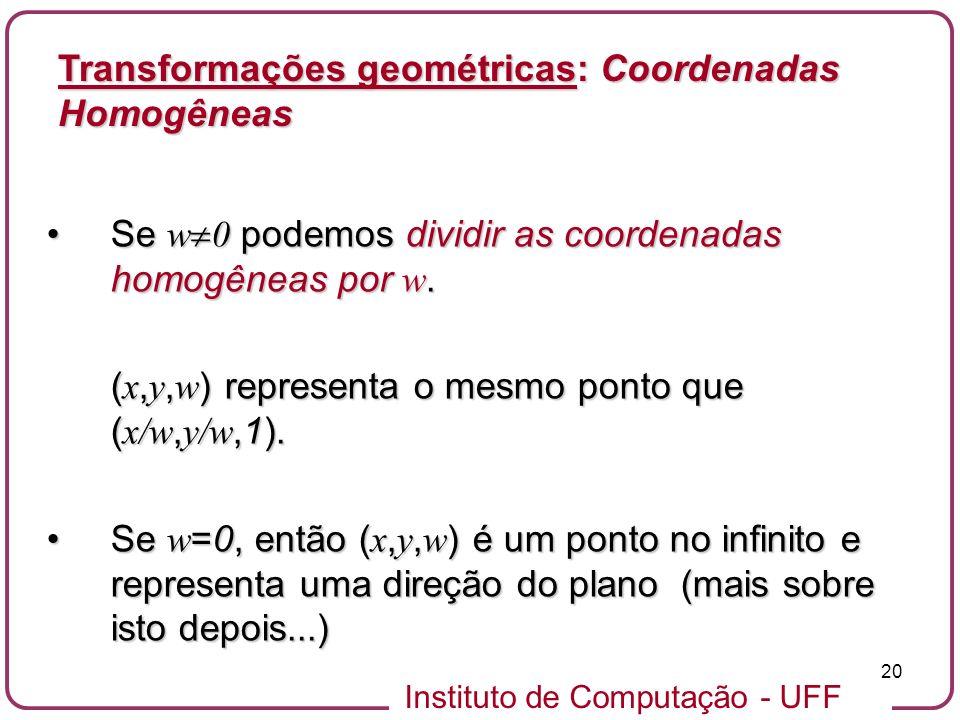 Instituto de Computação - UFF 20 Se w 0 podemos dividir as coordenadas homogêneas por w.Se w 0 podemos dividir as coordenadas homogêneas por w.