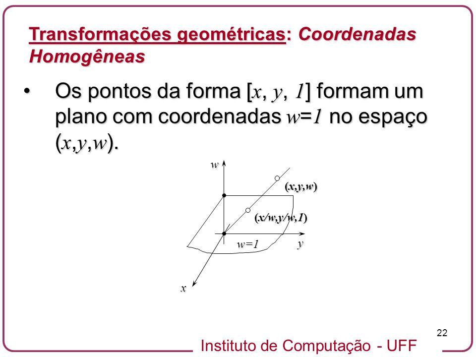Instituto de Computação - UFF 22 Os pontos da forma [ x, y, 1 ] formam um plano com coordenadas w = 1 no espaço ( x, y, w ).Os pontos da forma [ x, y, 1 ] formam um plano com coordenadas w = 1 no espaço ( x, y, w ).