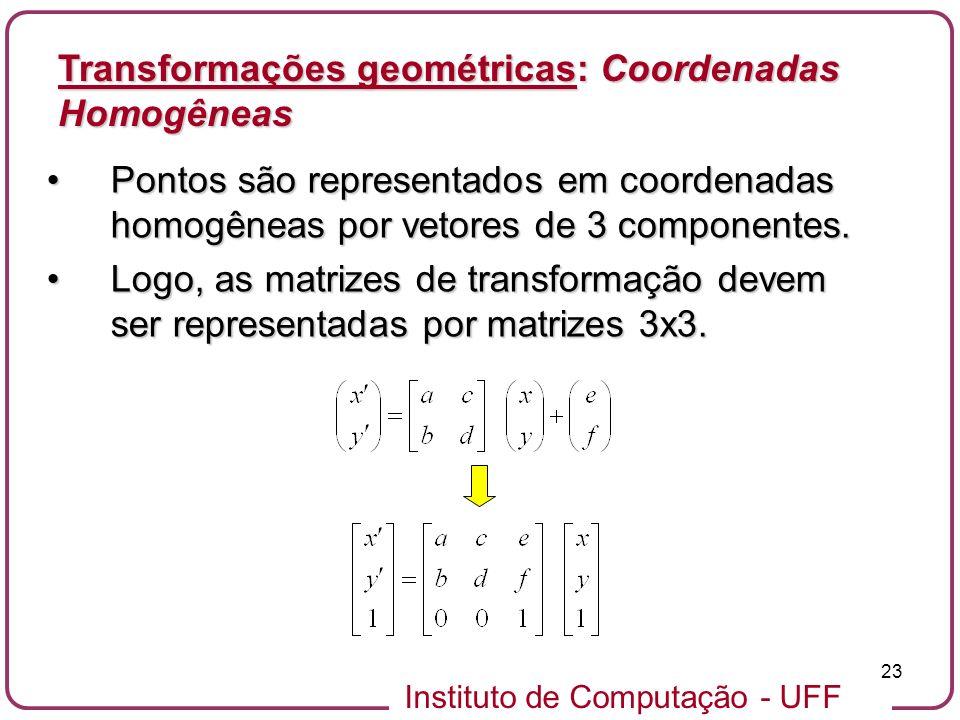 Instituto de Computação - UFF 23 Pontos são representados em coordenadas homogêneas por vetores de 3 componentes.Pontos são representados em coordenadas homogêneas por vetores de 3 componentes.